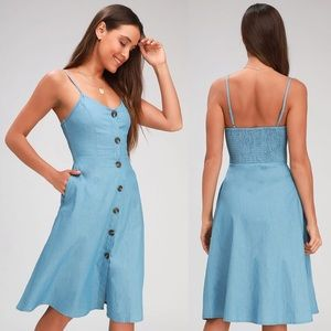 ✨ NWT Lulu's Day at the Park Button Midi Dress ✨